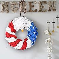 Bald Eagle Wreath, American Eagle Wreath, Patriotic Eagle Wreath, Decorative Wreath for Independence Day, Decorative Wreath for Front Door