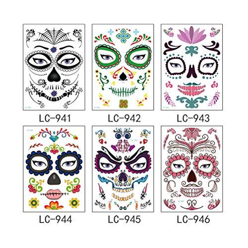 Lurrose 6 unids Halloween cara tatuaje etiqueta día de los muertos cráneo araña impermeable Tatto