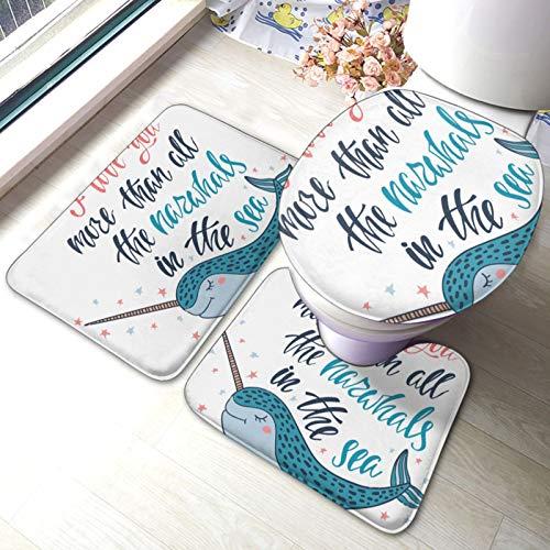 I Love You More Cute Wild Bathroom Mat Set 3 piezas Rugs Memory Foam Mat Set WC Cover Bath Mat Lid Cover
