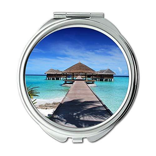 Yanteng Spiegel, Travel Mirror, Strand blau Promenade, Taschenspiegel, tragbarer Spiegel