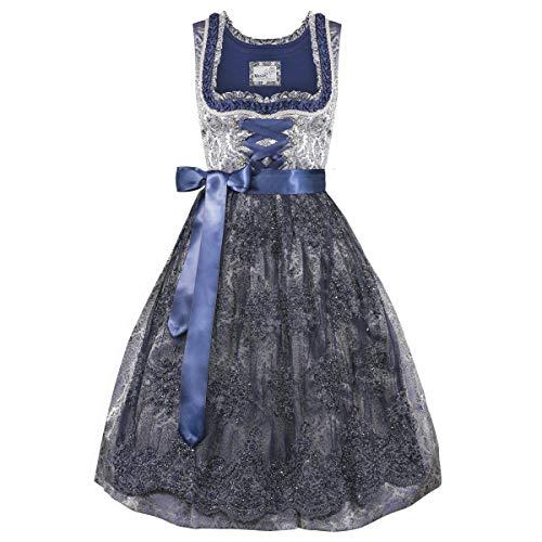 MarJo Trachten Damen Trachten-Mode Midi Dirndl Gadila in Grau traditionell, Größe:38, Farbe:Grau