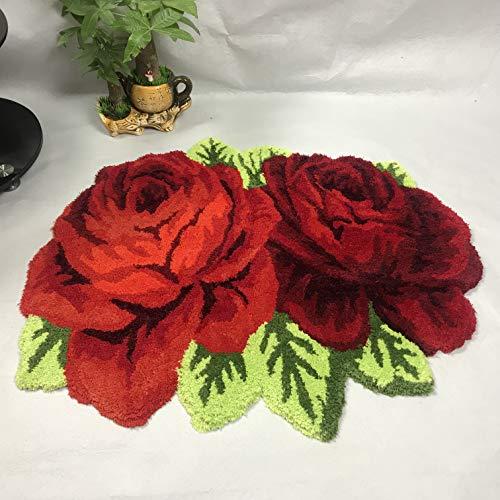 Ustide Vintage Rose Rug Red Handmade Holiday Decor Bathmat Floral Rug Girls Bedroom Rugs Washable Non-Slip Floor Rustic Carpets