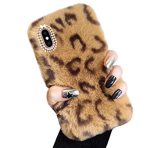 Cover in Peluche per iPhone 6 Plus / 6S Plus (5,5'), Misstars Morbido Pelliccia Artificiale Custodia con Bling Diamante Design Inverno Caldo Flessibile Silicone TPU Protettiva Bumper, Leopard Marrone