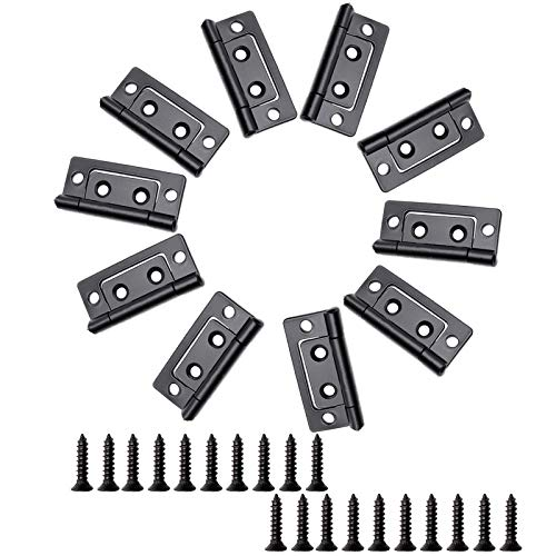 Amgiimor 10PCS 2''x0.9'' Black Non-Mortise Hinges Chest Hinges Heavy Duty Iron Cabinet Door Hinges for Furniture with Mounting Screws