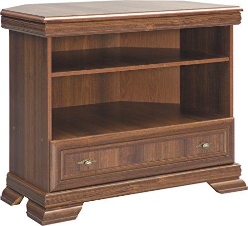 Furniture24 Tv Eckschrank Kora KRTN Eckkommode Lowboard unterschrank Fernsehentisch mit Schublade und Einlegeboden (Samoa King)