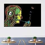 NIMCG creatività Astratto Scheletro Fumo Tela Pittura Casa Decorazione dell'hotel Appeso Picture Wall Art Fattoria Decor 30x40 cm (Senza Cornice)