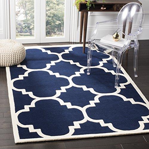 Safavieh Chatham Collection CHT730C Handmade Dark Blue and Ivory Premium Wool Area Rug (8'9' x 12')