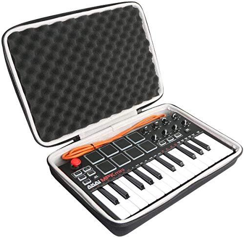 Khanka Funda de transporte para AKAI Professional MPK Mini MKII MK2/Mini Play Portables de 25 teclas USB MIDI Keyboard Case (con espuma suave)