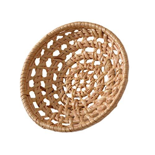 YARNOW Cesta redonda de mimbre hecha a mano para frutas, pan, bandeja, redonda y plana para panadería, tartas, fiestas en casa (marrón claro)