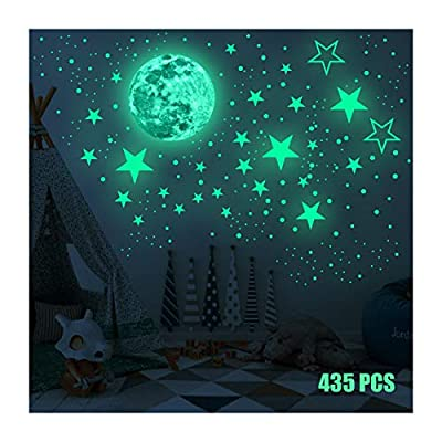Sticker Round Dot Glow in The Dark Wall Stickers Luminous Fluorescent Stickers for Kids,435pcs Bright Stars and Full Moon Starry Sky Stickers Baby Room Bedroom Ceiling Home Decor