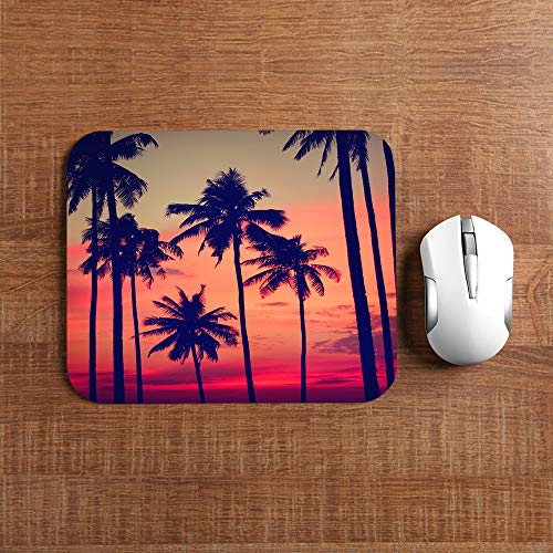 Moslion Coconut Palm Mouse Pad Tree Summer Sunset Nightfall Clouds Sky Fantastic Landscape Gaming Mouse Mat Non-Slip Rubber Base Thick Mousepad for Laptop Computer PC 9.5x7.9 Inch Photo #3
