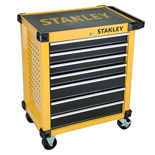 Stanley FatMax Werkstattwagen / Werkzeugwagen, Transmodul-System (mit 7 Schubladen, 2 Schlüsseln, bis 300 kg Gesamtbelastbarkeit, mit 4 Rollen fest und schwenkbar, rutschhemmende Matten) STMT1-74306