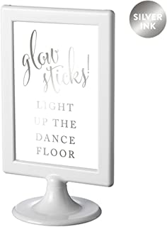 Andaz Press Framed Wedding Party Signs, Metallic Silver Ink, 4x6-inch, Glow Sticks Light Up the Dance Floor, Double-Sided, 1-Pack, Colored Decorations