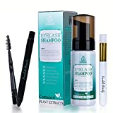 Eyelash Extension Shampoo Foam Cleanser & Brush + Mascara Wand - Forabeli/Eyelid Foaming Cleansing/Lash Shampoo Cleaner/Nourishing Formula/Paraben & Sulfate Free/Makeup Remover/Salon and Home use