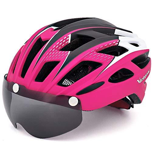 VICTGOAL Casco Bici con Visiera Magnetica Casco da Ciclismo Unisex per Bici da Corsa All'aperto Sicurezza Sportiva Casco da Bicicletta Superleggero Regolabile 57-61 cm (Rosa)