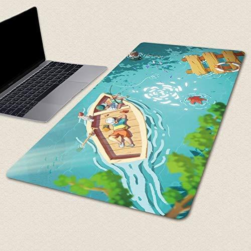 Laptop Tischunterlage Blauer Rutschfester Haltbarer Gummi-Spiel-Mausunterlage Xxl-Geschwindigkeits-Tastatur-Mäusematte-Laptop-Pc-Karikatur-Schreibtisch-Auflage 800X300X3Mm