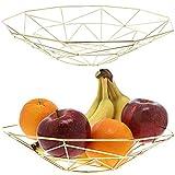 Frutero de alambre con diseño geométrico, 2 piezas, dorado metálico, estilo moderno, centro de mesa, 28 x 30 x 6,6 cm