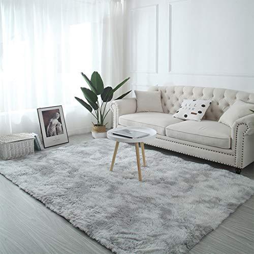 GUODIU Alfombra Pelo Largo 100x180cm Non-Slip Alfombras Ultra Suaves Interiores para Comedor, Dormitorio, Pasillo y Habitación Juvenil, Gris Claro