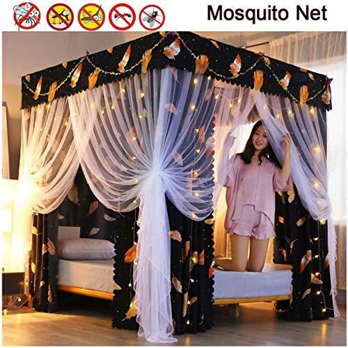 Vierhoekige post, baldakijn, gordijn, muggennet, zomerstijl, grote romantisch elegant prinsesnet, voor vliegen en insectenbescherming, voor tweepersoonsbedden, eenvoudige installatie, afwasbaar