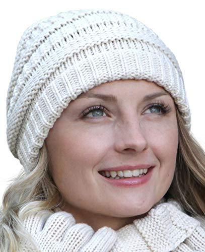 Arme su conjunto de combo de invierno: bufanda, gorro de punto a juego y guantes a juego, configuración conjunto:gorro creme
