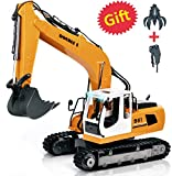 DOUBLE  E 17 Channel Full Functional Remote Control Truck Metal Shovel RC Excavator with 2 Bonus Drill and...