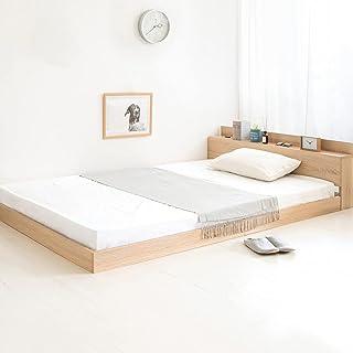 アイリスプラザ ベッド シングル フロアベッド 棚 ヘッドボード付き コンセント付き 幅106×奥行216×高さ45㎝ オーク SFBD-S