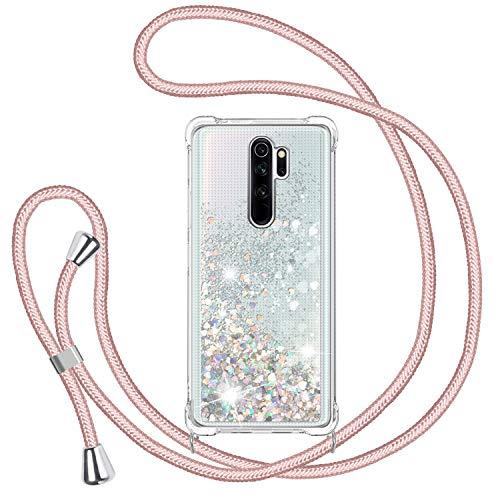 Handykette Hülle für Xiaomi Redmi Note 8 Pro, Glitzer Treibsand Necklace Silikon Stoßfest Handyhülle mit Band Transparent TPU Bumper Schutzhülle mit Kordel zum Umhängen, Quicksand Hülle in Rosé-Gold