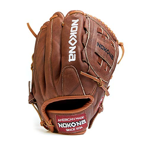 NOKONA W-1200 Handcrafted Walnut Baseball, Softball, and Fastpitch Glove - Left Hand Throw Closed Web for Infield and Outfield Positions, Adult 12 Inch Mitt, Made in The USA