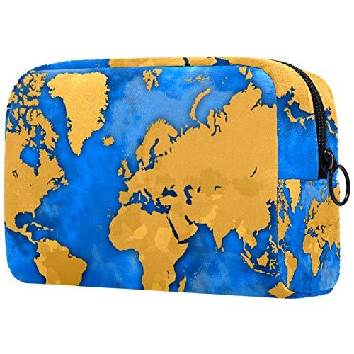 Kit de Maquillaje Neceser Makeup Bolso de Cosméticos Portable Organizador Maletín para Maquillaje Maleta de Makeup Profesional Mapa del Mundo Amarillo 18.5x7.5x13cm