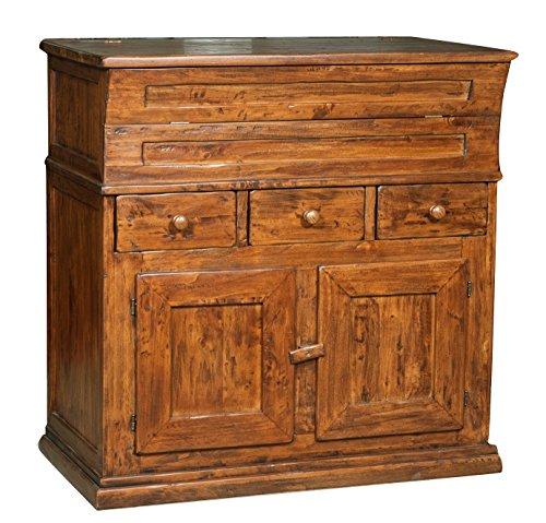 Madia in legno massello di tiglio finitura noce 100x55x101 cm