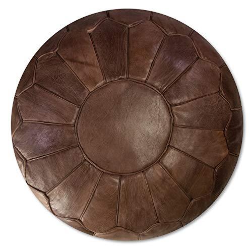 Marokkanischer Echtleder Pouf - Braun - Handgefertigt - gefüllt geliefert - Ottoman Sitzsack Fußhocker