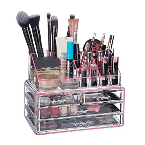 Relaxdays Make Up Organizer Acryl, 2-teilige Schminkaufbewahrung mit Lippenstifthalter & 4 Schubladen, transparent/pink
