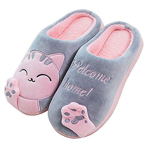 Cliont Zapatillas de Gato Lindo Zapatillas de Invierno de Interior Zapatos Antideslizantes Mujeres y Hombres 37/38 EU Talla Fabricante 38/39