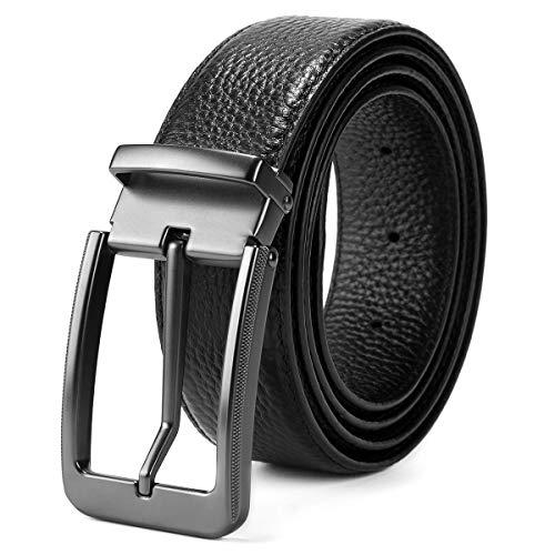BOYOU Herren Ledergürtel Dornschließe Jeansgürtel Business Ledergürtel Metall Retro Breite Gürtel für Männer Schwarz
