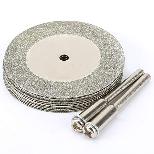 10 Piezas 40mm Diamante Cortar la herramienta rotatoria de discos de ruedas con 2 Mandril Arbor Conjunto