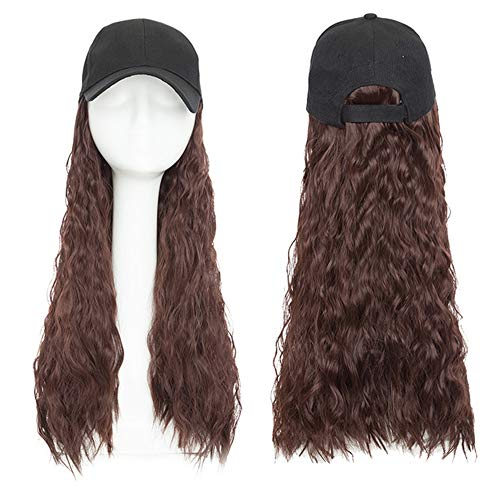 Baseball Cap Wig Hat with Hair Water Wave Synthetic Hair Extension Hair Piece with Black Cap for Women Fake Hair,5