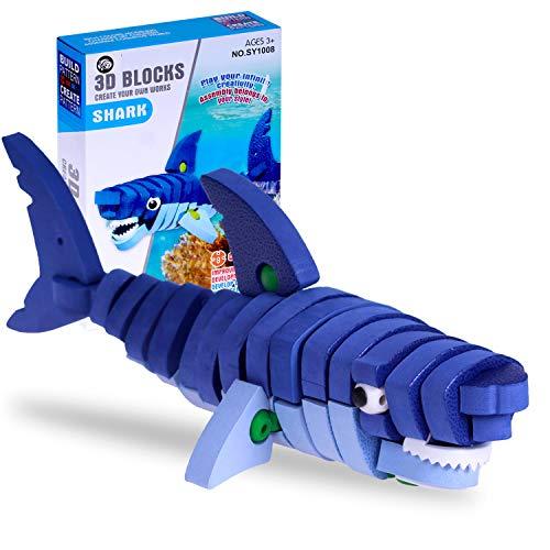 Gioco di costruzione puzzle 3D di squalo, blocchi di costruzione in schiuma animali, giocattoli educativi per bambini