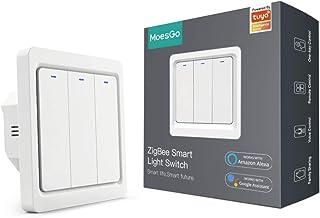 MoesGo Interruttore smart Tuya Zigbee da parete senza filo neutro 1 vie, compatibile con l'app Smart Life/Tuya, funziona c...