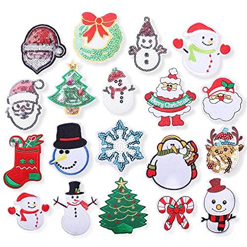 Patch Sticker,Parche termoadhesivo,Aplique de bordado adecuado para sombreros, chaquetas, abrigos, camisetas, , muñeco de nieve alce 19 piezas