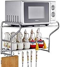 Microondas digitales horno Cocina del soporte del horno de microondas de montaje en pared estante de almacenamiento en rack de cocina multifuncional de 2 capas de acero inoxidable con ganchos, 53cm ho