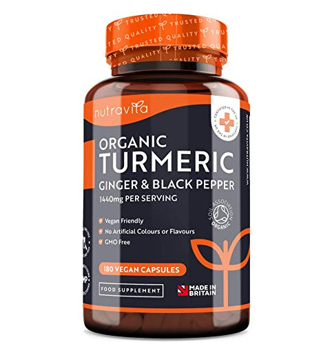 Organic Turmeric Curcumin 1440mg with Black Pepper & Ginger – 180 Vegan Turmeric Capsules High Strength (3 Month Supply) – Certified Organic by Soil Association – Made in The UK by Nutravita