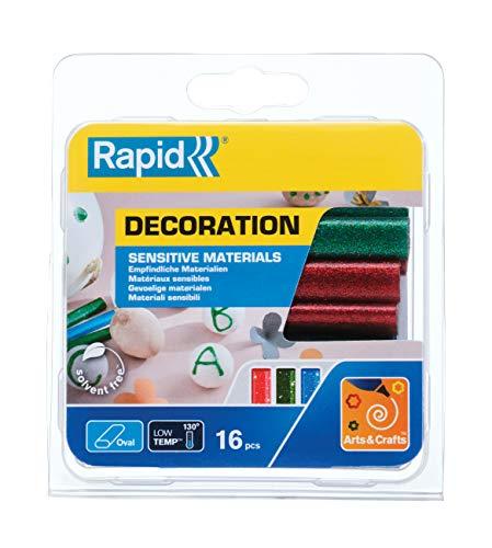 Rapid 40108462 Niedertemperatur Klebesticks glitzer (rot, grün, blau) oval Ø9x94mm 125g, 125 g