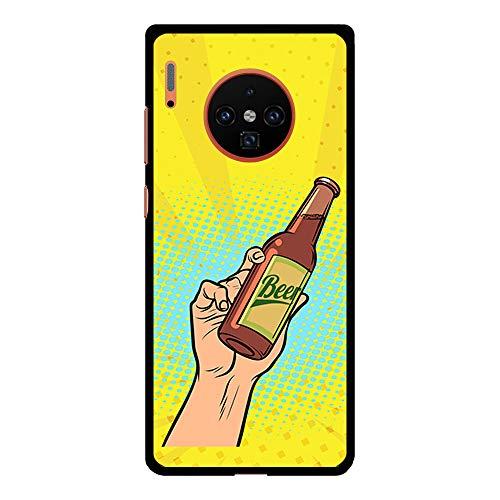 BJJ SHOP Schwarz Hülle für [ Huawei Mate 30 Pro ], Klar Flexible Silikonhülle, Design: Leidenschaft und Liebe zum Bier
