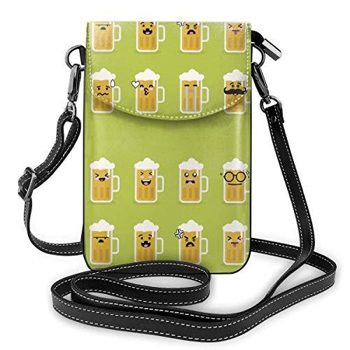 Lawenp Monedero de cuero para teléfono, bolso bandolera pequeño de cerveza con cara de sonrisa Mini bolso de hombro para teléfono celular para mujeres