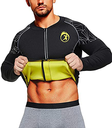 SEXYWG Trajes De Sudoracion Hombre Cremallera Manga Larga Faja Sauna Deportiva Camiseta Reductoras Sudoración para Fitness Neopreno