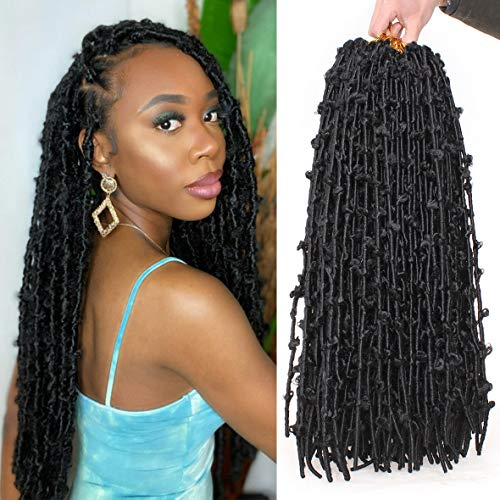24 Inch 6 Packs Natural Black Butterfly Locs Crochet Braids Hair Faux Locs Pre looped Butterfly Soft Locs Crochet Dreadlocks Synthetic Hair Extensions African Roots For Black Women (24Inch, 1B#)