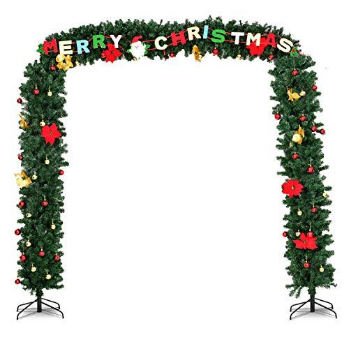 Goplus Arco per Ingresso Ghirlanda Festoni Ghirlanda di Natale Artificiale Ghirlanda Porta Festoni di Natale Addobbi Natalizie, Luci LED Bianco Caldo (274x243cm)