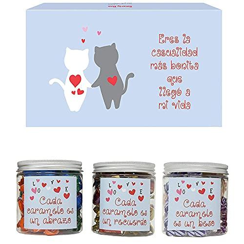 SMARTY BOX Caja Regalo Original Caramelos y Gominolas San Valentín, Cumpleaños, Pareja, Enamorados, Romántico, Cesta Golosinas Chuches Dulces sin Gluten, Fabricado en España