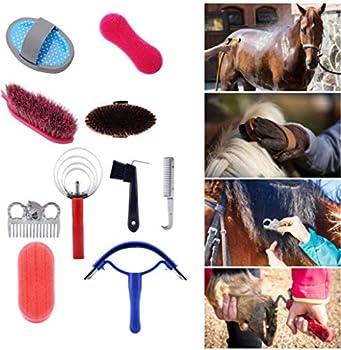 Cheval Brush Set, 10 Pcs Professional Kit De Soins De Toilettage De Cheval Equestrain Brush Curry Peigne Cheval Outil De Nettoyage Ensemble