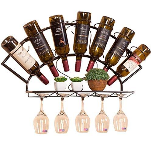 Pkfinrd Estante de vino montado en la pared, botellas y estantes de vidrio, decoración del hogar y la cocina, estantes de almacenamiento, soportes de exhibición para decoración de bar, color negro